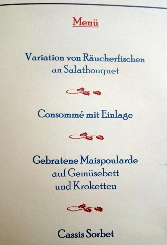 Schlosshotel Meisdorf 4 Gänge Menü Speisekarte