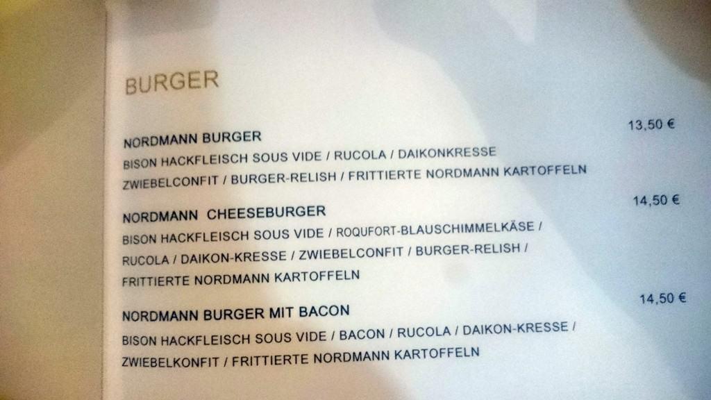 Verschiedene Bison-Burger auf der Speisekarte
