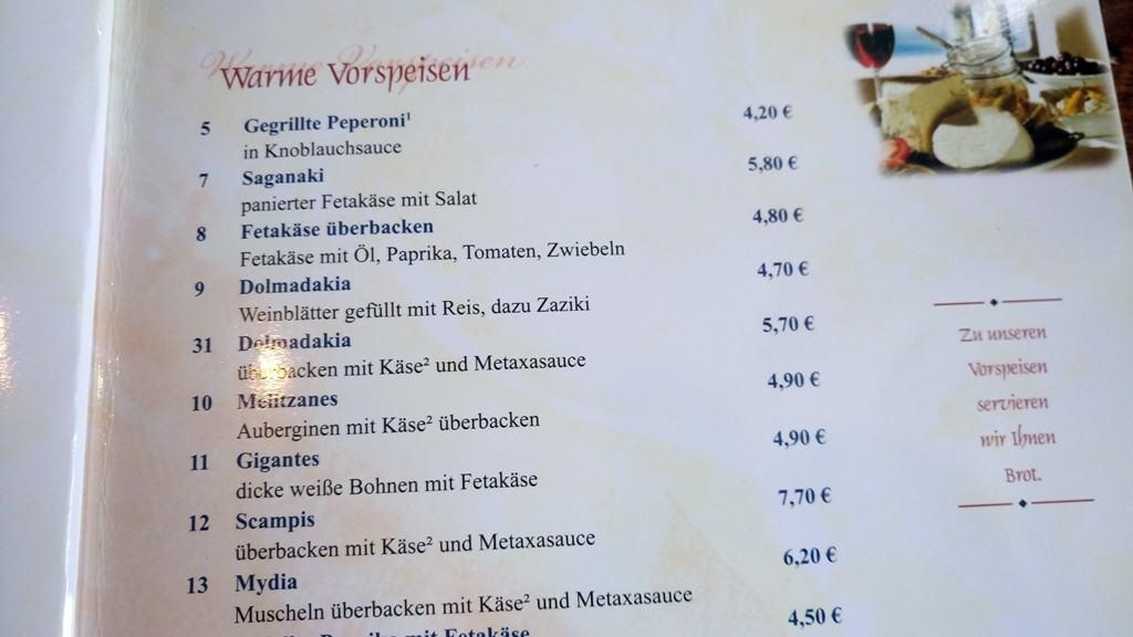 Warme Vorspeisen - Grieche Ballenstedt Speisekarte