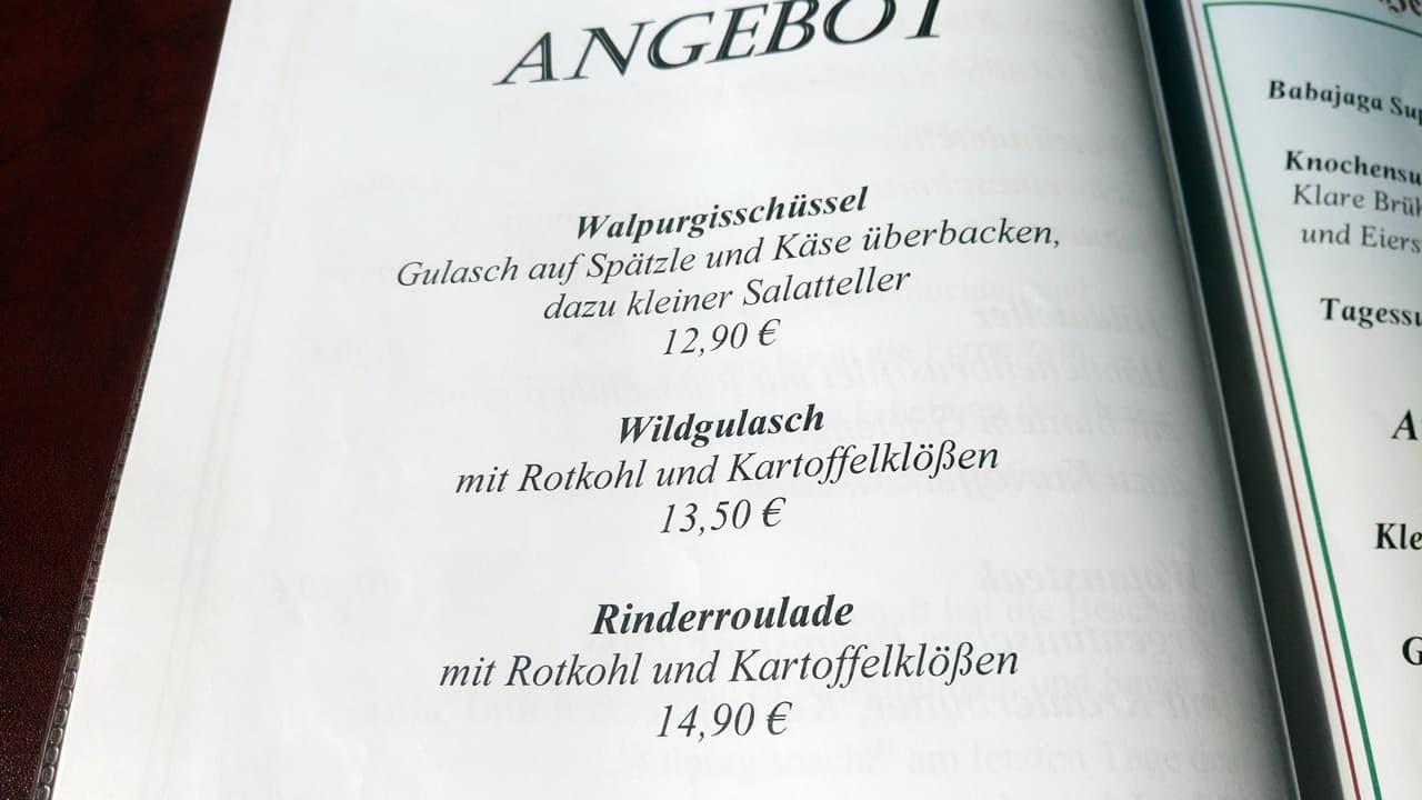 Berghotel-Restaurant Hexentanzplatz Speisekarte 1
