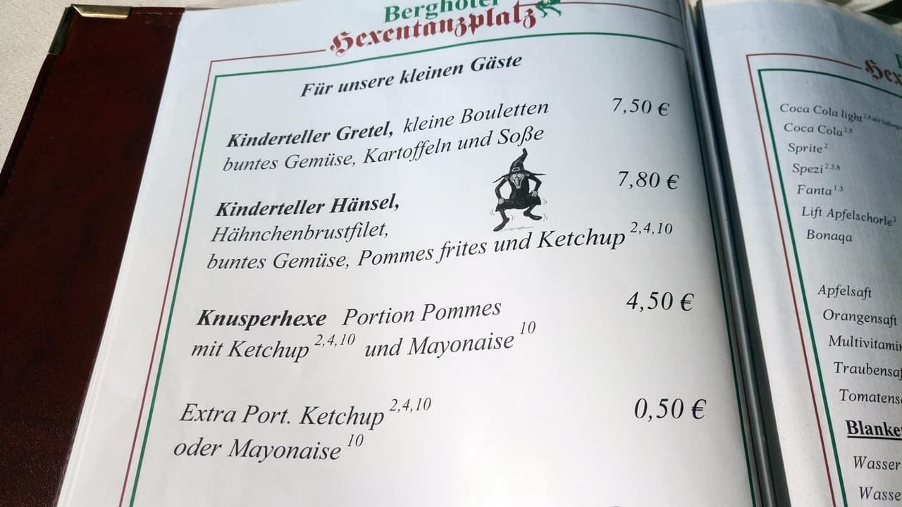 Berghotel-Restaurant Hexentanzplatz Speisekarte 2