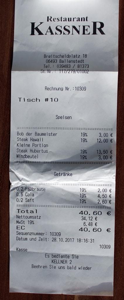 Rechnung vom Restaurant Kassner