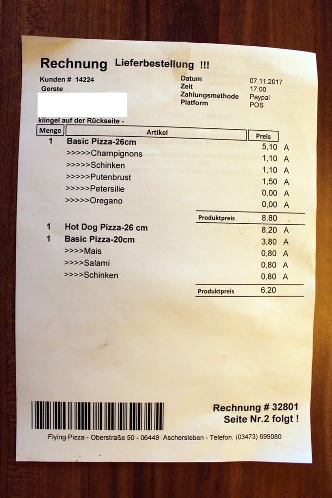 Flying Pizza Aschersleben Rechnung